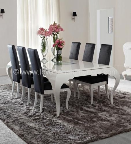 New York Dining Set in Glossy White
